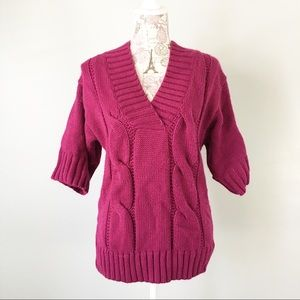 A.n.a Fuchsia short sleeve cable knit sweater